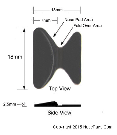 Stick-On Black Nose Pad D Shape