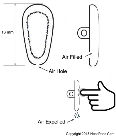 Air bag nose pads for glasses